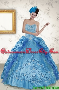 2021 Detachable Sweetheart Teal Quinceanera Gown with Embroidery and Pick Ups