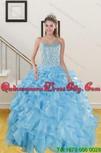 2021 Detachable and Classical Sweetheart Ruffled Quinceanera Dresses in Baby Blue