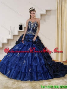 Top Seller Navy Blue Sweetheart Quinceanera Dress with Embroidery and Ruffles