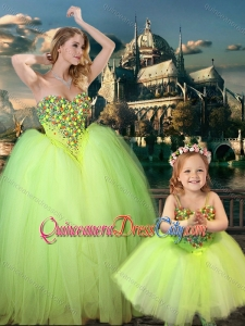 Most Popular Yellow Green Spaghetti Straps Pageant Dresses for Kid with Beading