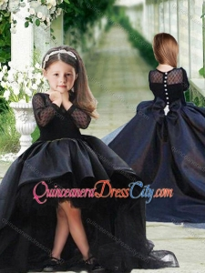 Romantic See Through Long Sleeves Pageant Dresses for Kid in Black