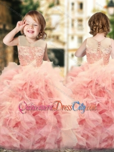 Wonderful Ruffled and Laced Pageant Dresses for Kid with See Through Scoop