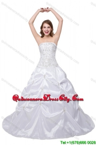 Puffy Strapless Brush Train White Quinceanera Dress with Beading and Pick