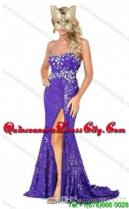 Fashionable Sequined Dark Green Brush Train Prom Dress with Beading and High Slit