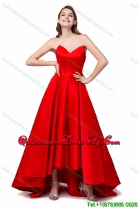 Princess Sweetheart High-low Ruched Lace Up Prom Dresses in Red