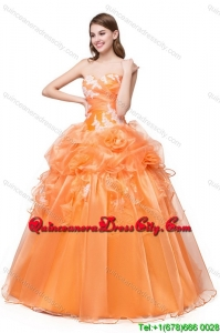 Puffy Sweetheart Organza Orange Quinceanera Dress with Appliques and Handcraft