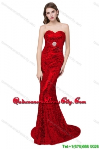 Sexy Column Sweetheart Brush Train Royal Blue Prom Dresses with Sequins