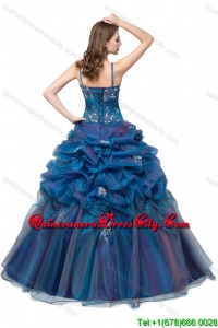 Unique Organza Straps Beaded Bodice Teal Quinceanera Dress with Appliques and Bubbles