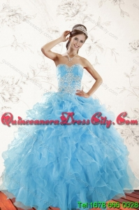 2021 Top Seller Baby Blue Quince Dresses with Appliques and Ruffles