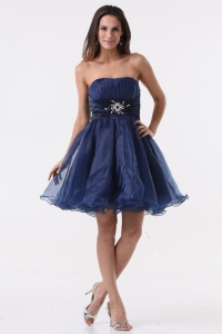 A-line Strapless Navy Blue Beading Ruching Organza Dresses for Dama