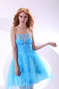 Aqua Blue Dama Dress for Quinceanera with Strapless Beaded and Flowers
