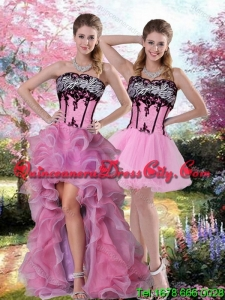 High Low Zebra Printed Prom Dress with Pick Ups and Appliques