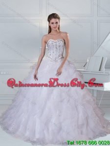Wholesale White Sweetheart 2015 Quinceanera Dress with Ruffles and Beading