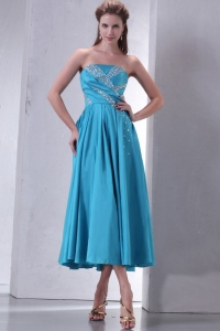 vTeal Empire Strapless Tea-length Dama Dress for Quinceanera with Beading