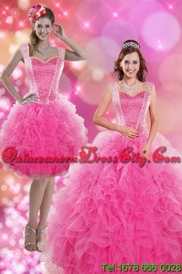 2021 Wholesale Hot Pink Quinceanera Dresses with Beading and Ruffles