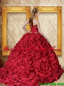 Wholesale 2015 Wine Red Brush Train Quinceanera Dress with Sweetheart