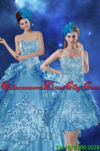 Wholesale Teal 2015 Quince Dresses with Embroidery and Pick Ups