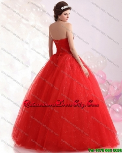 2021 Spring Sweetheart Red Sweet Sixteen Dresses with Rhinestones