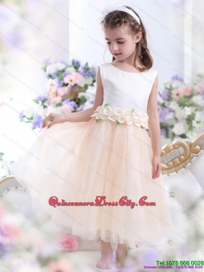 2021 White Little Girl Pageant Dress with Waistband and Hand Made Flowers