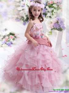 Rose Pink Little Girl Pageant Dress with Hand Made Flowers and Ruffled Layers