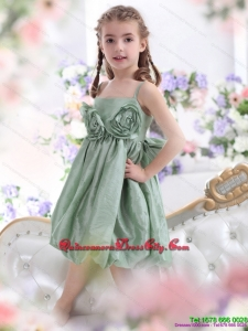 Unique Spaghetti Straps Little Girl Pageant Dress with Waistband and Hand Made Flower