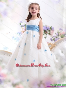 White Scoop Beautiful Dress with Baby Blue Waistband and Appliques