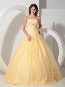 Strapless Floor-length Light Yellow Beading Sweet Sixteen Dress
