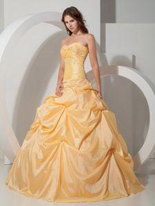 Yellow Ball Gown Sweetheart Pick-ups Beading Quinceanera Dress