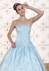 Baby Blue Quinceanera Dress Strapless with Embroidery and Beading