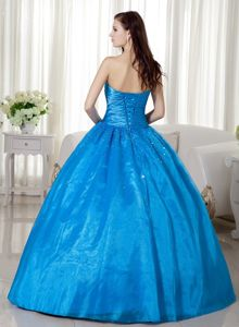 Discount Blue Strapless Beading Dresses For Quinceanera