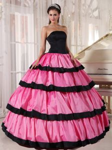 Rose Pink and Black Ruffled Strapless Dresses For a Quince