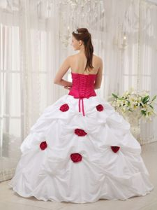 Fuchsia and White Quinceanera Dress with Beaded Strapless Hand Made Flower