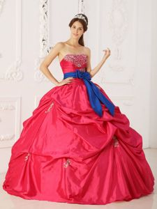 Beading Appliques Strapless Bowknot Quinceanera Dress