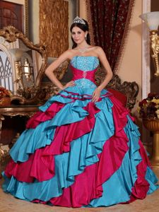 Beaded Strapless Ruffled Quinceanera Dress in Aqua Blue and Red