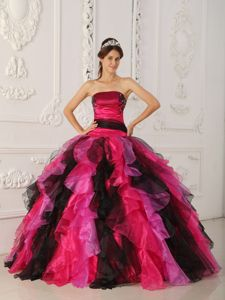 Multi-color Strapless Appliques and Ruffles Quinceanera Gown