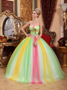 Sweetheart Multi-color Ball Gown Beaded Quinceanera Dress