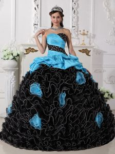 Quinceanera Dress in Blue and Black with Beading Sweetheart and Rolling Flowers