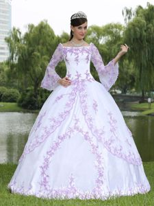 Long Sleeves Square Neckline Embroidery White Sweet 16 Dress