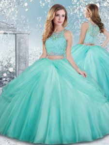Pretty Aqua Blue Scoop Clasp Handle Beading and Lace Sweet 16 Dress Sleeveless