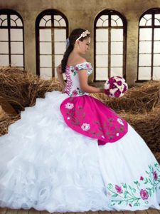 Multi-color Ball Gowns Chiffon Off The Shoulder Sleeveless Embroidery and Ruffled Layers Floor Length Lace Up Vestidos de Quinceanera