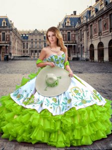 Artistic Embroidery and Ruffled Layers 15 Quinceanera Dress Lace Up Sleeveless Floor Length