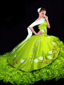 Pretty Organza Sweetheart Sleeveless Brush Train Lace Up Embroidery and Ruffles 15th Birthday Dress in Yellow Green