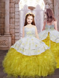 Fitting Floor Length Lace Up Vestidos de Quinceanera Yellow And White for Military Ball and Sweet 16 and Quinceanera with Beading and Appliques and Ruffles