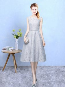 Grey Sleeveless Lace Zipper Quinceanera Court Dresses for Wedding Party