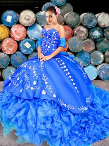 Sexy Sleeveless Organza Brush Train Lace Up Quinceanera Gowns in Royal Blue with Embroidery and Ruffles