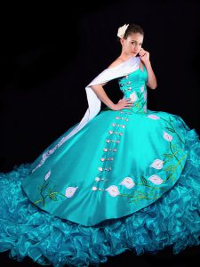 Aqua Blue Ball Gowns Embroidery and Ruffles Sweet 16 Dresses Lace Up Organza Sleeveless