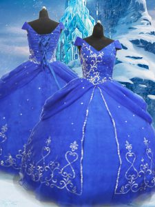 Blue Ball Gowns Beading and Appliques Quinceanera Gown Lace Up Tulle Short Sleeves Floor Length