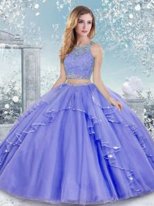 Floor Length Lavender Quinceanera Dresses Scoop Sleeveless Clasp Handle