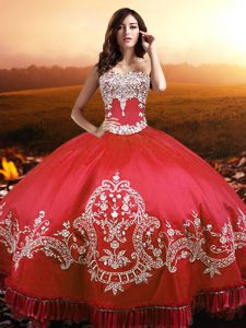 High Class Floor Length Lace Up Quinceanera Gown Coral Red for Military Ball and Sweet 16 and Quinceanera with Beading and Appliques and Embroidery