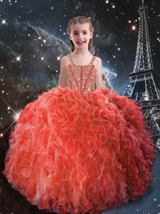 Coral Red Sleeveless Floor Length Beading and Ruffles Lace Up Pageant Dress for Teens